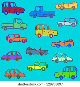 Silhouette of cars different color