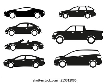 Silhouette cars on a white background.