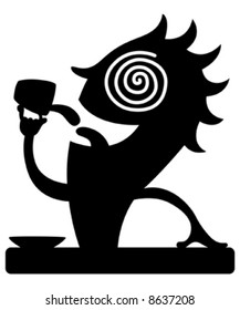 Silhouette of cartoon caffeine character drinking coffee