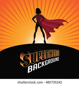Silhouette cartoon girl in superhero costume burst background. EPS 10 vector.
