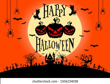 Silhouette castle and cemetery, big evil tree, bat, witch, big halloween pumpkins and text on yellow moon with red sky in background, flat line vector and illustration.