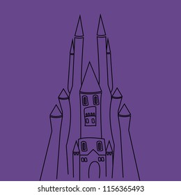 silhouette castle on the purple background