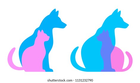 Silhouette of cat and dog on a white background