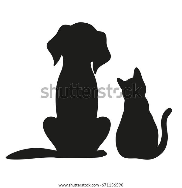 Silhouette von Katze und Hund auf weißem Hintergrund