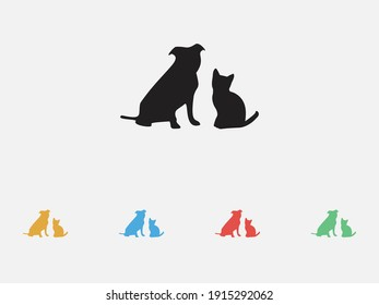 Silhouette of cat and dog. Vector illustration icon. Friends pet icon. Set of colorful flat design icons