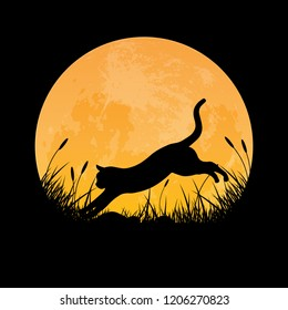 Silhouette of cat jumping over grass field with full moon background, vector illustration