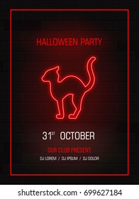 Silhouette cat neon sign.Happy Halloween bright signboard, light banner. Modern neon billboard on brick wall. Party invitation. Vector illustration.
