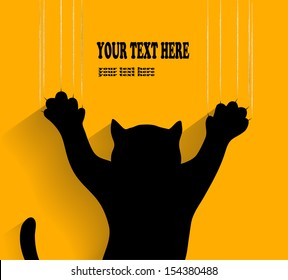 silhouette of a cat scratching background in vector