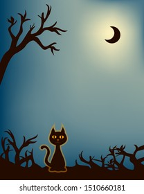 Silhouette - cat with a shine between branches at night. A glowing black half moon is up in the sky. The illustration offers space fot text.