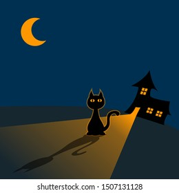 Silhouette of a cat sitting in front of a house at night. The lights in the building are on and shine onto the cat. The cat has also a glow around it. A half moon is up in the night sky.