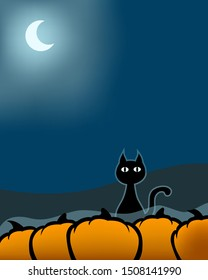 Silhouette of a cat sitting on a pumpkin field int the night. The cat has a blue glow and over the vegetables is a blue fog. In the background is a glowing silver-blue half moon.