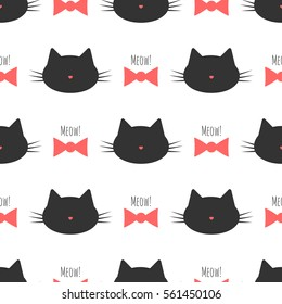 Silhouette of cat's head, bow and text Meow! Cute seamless pattern.