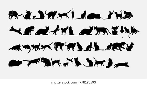 Silhouette of cats icons set. Vector illustration.