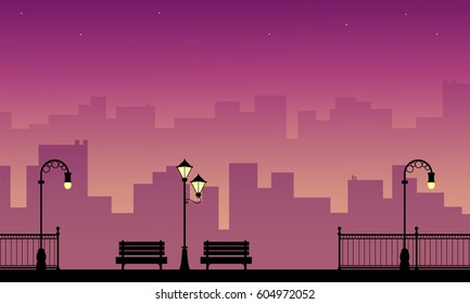Silhouette of chair with lamp beauty landscape