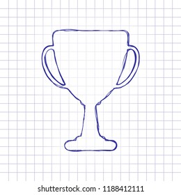 Silhouette of champions cup. Simple icon. Hand drawn picture on paper sheet. Blue ink, outline sketch style. Doodle on checkered background