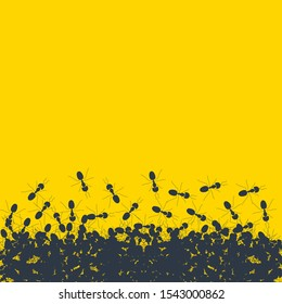 Silhouette of chaotic running ants on yellow background. Crawling insects colony backdrop poster. Teamwork and cooperation concept.  Vector cartoon illustration.