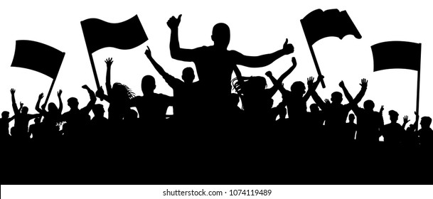 Silhouette cheer crowd people. Audience cheering applause, clapping. Cheerful sports fan. Mob soccer banner. Party music concert. Isolated vector