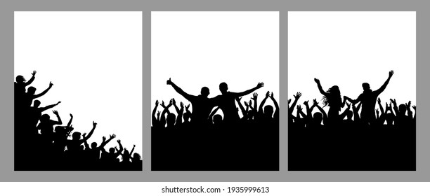 Silhouette of cheerful crowd people, vertical posters, set. Fun people on party or holiday or concert, sport fans. Vector illustration