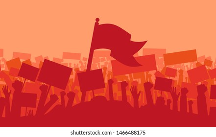 Silhouette of cheering or riot protesting crowd with flags and banners. Protest, revolution, demonstrators or conflict. Vector illustration
