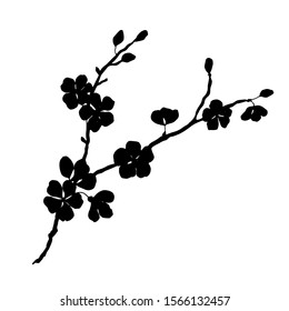 Silhouette of a cherry branch. Vector illustration.