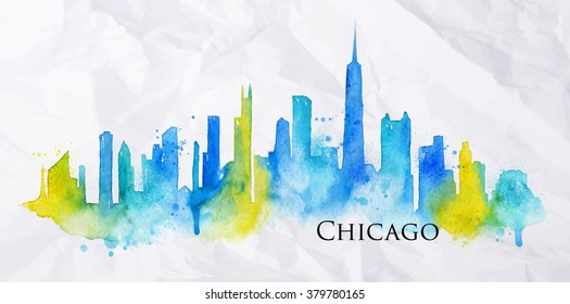 Silhouette of Chicago city painted with splashes of watercolor drops streaks landmarks in blue with yellow