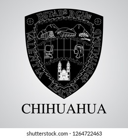 Silhouette of Chihuahua Coat of Arms. Mexican State. Vector illustration