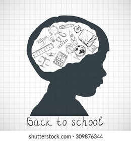 Silhouette of a child. Back to school. Doodle image. Stock Vector illustration.