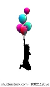 Silhouette of child with balloons. Vector