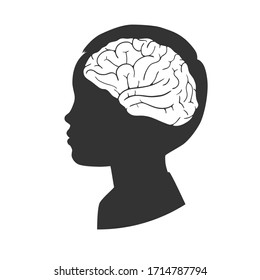 Silhouette of a child with a brain shape isolated on white background. Vector illustration