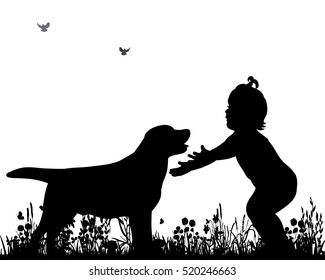 silhouette child and dog friendship