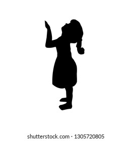 silhouette child, Infant. a girl standing, vector. little girl icon