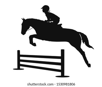 Silhouette of a child is learning on a pony show jumping