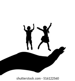 a silhouette of a child on palm, isolated, vector