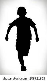 silhouette of a child running in school uniform, boy