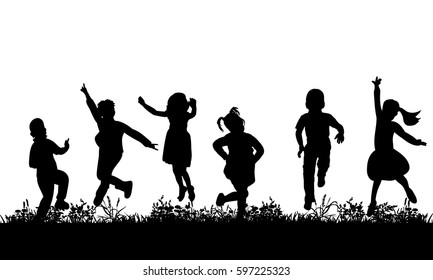 silhouette of children jumping on grass, joy