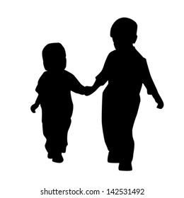 Silhouette of children on a white background.
