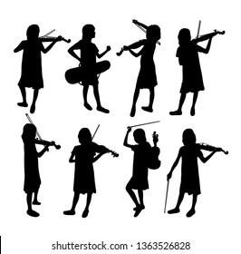 Silhouette of Children Playing and Learning Violin, art vector design