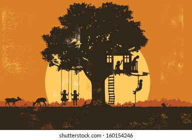Silhouette of children playing at sunset, vector