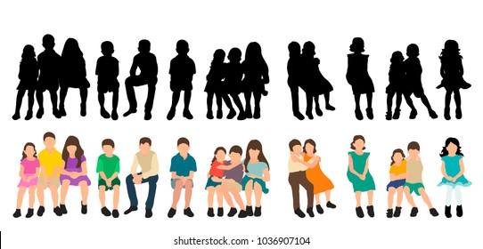 silhouette of children sitting, set