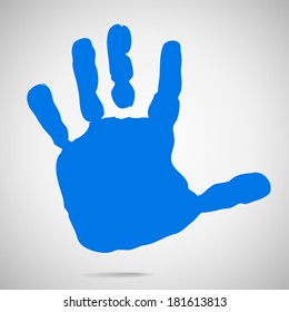 silhouette of children's hands after paint. Vector