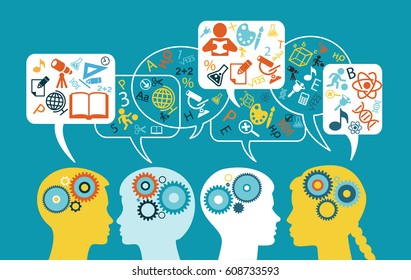 Silhouette of a children's head with speech bubbles, gears and  education icons. Flat design style. Education  background. The file is saved in the version AI10 EPS.