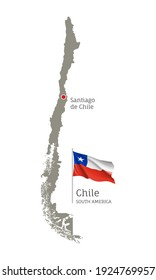 Silhouette of Chile country map. Gray editable map with waving national flag and Santiago de Chili city capital, South America country territory borders vector illustration on white background