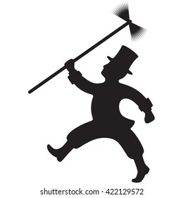 Silhouette of a Chimney Sweep going to work