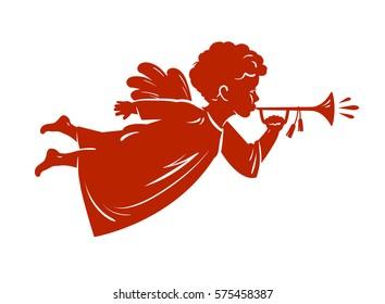Silhouette Christmas Angel blowing a trumpet. Cherub, Heavenly messenger symbol. Religion vector illustration