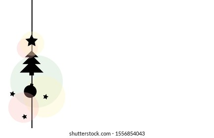 Silhouette of Christmas decoration: fir tree, Christmas bauble, stars on a vertical line. Pastel-colored circles complement the black elements.