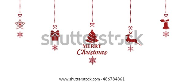 Hanging Christmas Ornaments Silhouette.Silhouette Christmas Ornaments Hanging Red Isolated Stock
