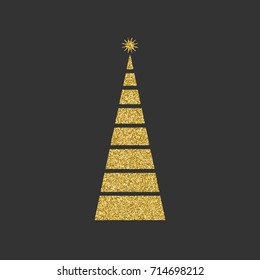 Silhouette of a Christmas tree with a star diagonal with geometric lines on a black background. Gold glitter effect. Vector illustration.