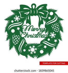 Silhouette of a Christmas wreath made of fir branches, ribbons, cones, stars, balls, snowflakes and a bow. Hanging decoration with the inscription - Merry Christmas. Vector template for laser cutting