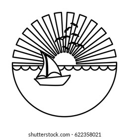 silhouette circular background sunset in the ocean with boat over waves vector illustration