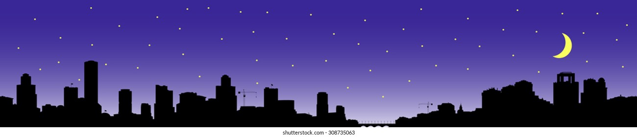Silhouette of the city in the background of the starry sky.